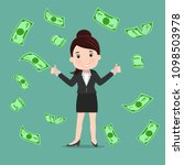 business woman throwing bank... | Shutterstock .eps vector #1098503978