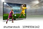tv. a monitor broadcasting a... | Shutterstock . vector #1098506162
