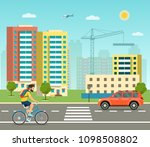 city life set with road ... | Shutterstock .eps vector #1098508802