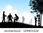editable vector silhouettes of... | Shutterstock .eps vector #109851326