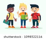 three boys with backpacks... | Shutterstock .eps vector #1098522116
