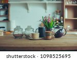 coffee set on wood table... | Shutterstock . vector #1098525695