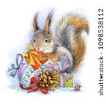 squirrel. christmas forest... | Shutterstock . vector #1098538112