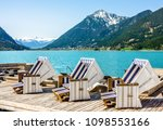 hooded beach chairs at a lake   Shutterstock . vector #1098553166