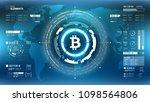 golden bitcoin cryprocurrency... | Shutterstock .eps vector #1098564806