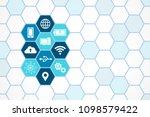 technology icons   hexagon... | Shutterstock .eps vector #1098579422