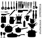 kitchen tools silhouette ... | Shutterstock . vector #109858016