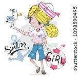 beautiful blonde girl in sailor ... | Shutterstock .eps vector #1098590495