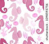 hand drawn vector seamless tile ... | Shutterstock .eps vector #1098593756