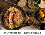roasted lamb loin chops with... | Shutterstock . vector #1098598685