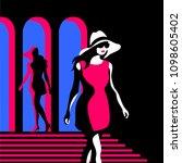 fashion girls. two female... | Shutterstock .eps vector #1098605402