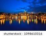 frankfurt skyline at sunset in... | Shutterstock . vector #1098610316