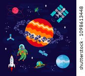 space  astronaut and different... | Shutterstock . vector #1098613448