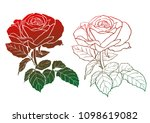 Set Of Two Rose Silhouettes  ...