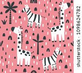 pattern with cute zebra and...   Shutterstock .eps vector #1098624782