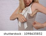 business woman armpit sweating. ... | Shutterstock . vector #1098635852