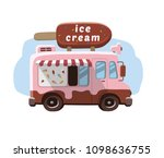 van with ice cream  mobile shop. | Shutterstock .eps vector #1098636755