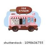 van with ice cream  mobile shop.   Shutterstock .eps vector #1098636755