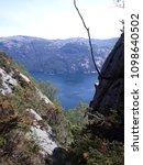 the norwegian fjord lyusebotn ... | Shutterstock . vector #1098640502