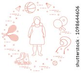 fat girl  badminton rackets and ... | Shutterstock .eps vector #1098644606