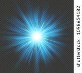 blue glow star burst flare... | Shutterstock .eps vector #1098654182