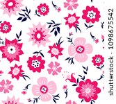 flowers pattern and leaves for... | Shutterstock .eps vector #1098675542