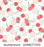 seamless cherry pattern | Shutterstock .eps vector #1098677252