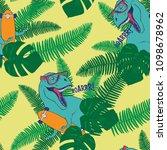 dinosaur tropical leaves... | Shutterstock .eps vector #1098678962