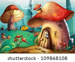 Illustration Of Red Mushroom...