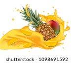 splash of ananas juice. mango... | Shutterstock .eps vector #1098691592