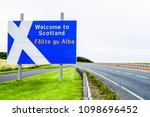welcome to scotland road sign... | Shutterstock . vector #1098696452