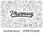 hand drawn pharmacy doodle set. ... | Shutterstock .eps vector #1098702668
