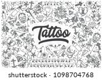 hand drawn tattoo doodle set.... | Shutterstock .eps vector #1098704768