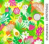 fresh watermelon slice  fruit... | Shutterstock .eps vector #1098705602