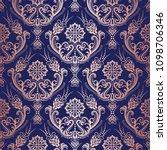 rose gold floral damask... | Shutterstock .eps vector #1098706346