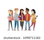 group of friends  cartoon... | Shutterstock .eps vector #1098711182