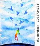 abstract human flying birds... | Shutterstock . vector #1098734195