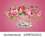 greeting card with pink peony... | Shutterstock .eps vector #1098763322