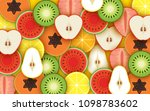 mixed fruit background | Shutterstock .eps vector #1098783602