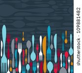 multicolored cutlery icons... | Shutterstock .eps vector #109881482