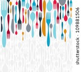 multicolored cutlery icons... | Shutterstock .eps vector #109881506