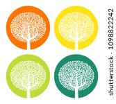 set of four white trees with... | Shutterstock . vector #1098822242