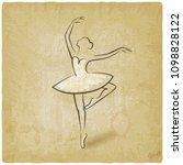 sketch ballet posture. dancing... | Shutterstock .eps vector #1098828122