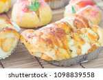 sausage bread with mayonnaise | Shutterstock . vector #1098839558