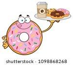 donut cartoon mascot character... | Shutterstock .eps vector #1098868268