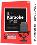 it's karaoke time event poster... | Shutterstock .eps vector #1098869078