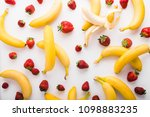 bananas and strawberries... | Shutterstock . vector #1098883235