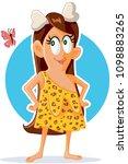 funny vector cartoon cave woman ...   Shutterstock .eps vector #1098883265