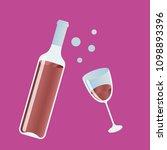 opened red wine bottle  filled... | Shutterstock .eps vector #1098893396