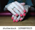 the manicurist excellently... | Shutterstock . vector #1098895025